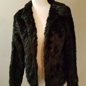Betsey Johnson Black Faux Fur Sequins Jacket